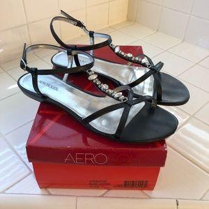 Aerosoles Black Leather flat sandals